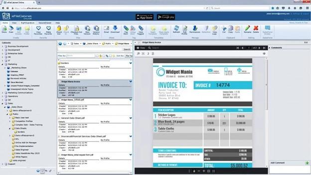 Dokumentenmanagement-Dashboard in eFileCabinet. [7]